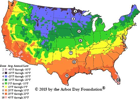 Arbor Day Foundation Planting Zone Map